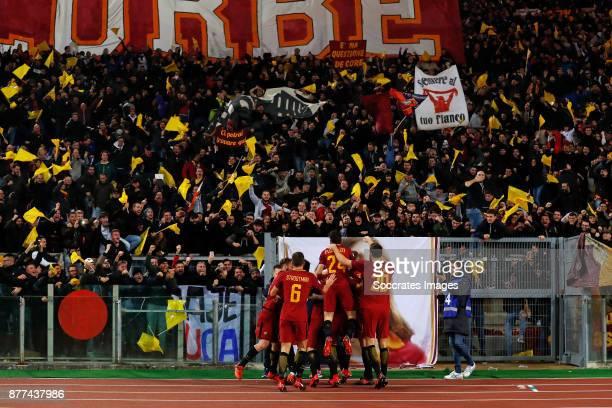 Kevin Strootman of AS Roma Alessandro Florenzi of AS Roma Aleksandar Kolarov of AS Roma Kevin Strootman of AS Roma Supporters of AS Roma Federico...
