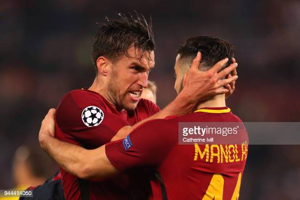 Kevin Strootman of AS Roma and Kostas Manolas of AS Roma celebrate at the full time whistle during the UEFA Champions League Quarter Final Second Leg...
