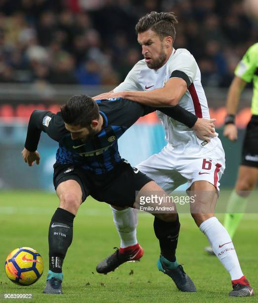 Kevin Strootman of AS Roma competes for the ball with Roberto Gagliardini of FC Internazionale Milano during the Serie A match between FC...