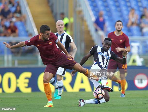 Kevin Strootman of AS Roma competes for the ball with Seko Fofana of Udinese Calcio during the Serie A match between AS Roma and Udinese Calcio at...