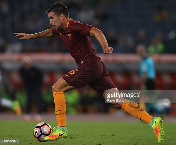 Kevin Strootman of AS Roma in action during the Serie A match between AS Roma and FC Crotone at Stadio Olimpico on September 21 2016 in Rome Italy