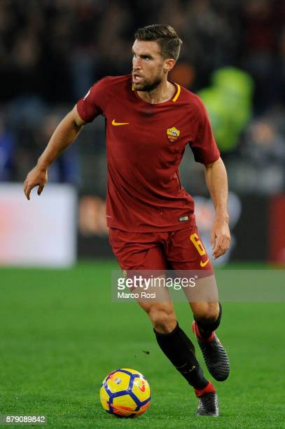 Kevin Strootman of AS Roma in action during the Serie A match between AS Roma and SS Lazio at Stadio Olimpico on November 18 2017 in Rome Italy
