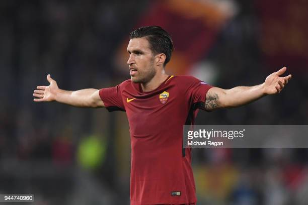 Kevin Strootman of AS Roma in action during the UEFA Champions League Quarter Final Second Leg match between AS Roma and FC Barcelona at Stadio...