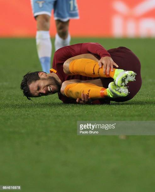 Kevin Strootman of AS Roma is injured during the TIM Cup match between AS Roma and SS Lazio at Stadio Olimpico on April 4 2017 in Rome Italy