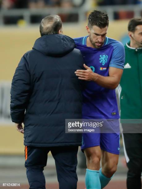 Kevin Strootman of Holland coach Dick Advocaat of Holland during the International Friendly match between Romania v Holland at the Arena Nationala on...