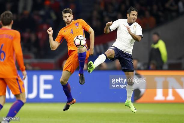 Kevin Strootman of Holland Wesley Hoedt of Holland Eder Citadin Martins of Italyduring the friendly match between Netherlands and Italy at the...