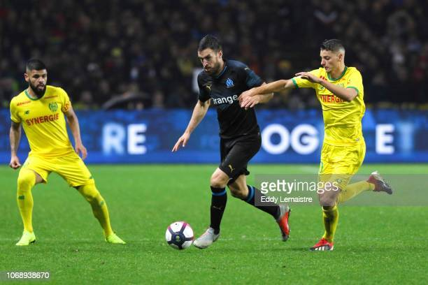 Kevin Strootman of Marseille and Andrei Girotto of Nantes during the French Ligue 1 match between FC Nantes and Olympique de Marseille on December 5...