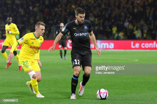 Kevin Strootman of Marseille and Valentin Rongier of Nantes during the French Ligue 1 match between FC Nantes and Olympique de Marseille on December...