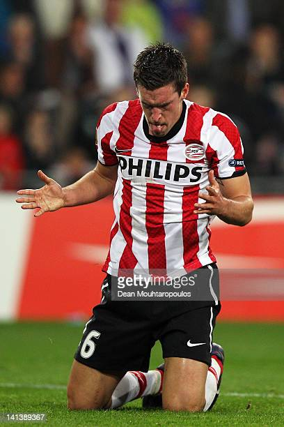 Kevin Strootman of PSV reacts after a missed chance on goal during the UEFA Europa League 2nd leg Round of 16 match between PSV Eindhoven and...