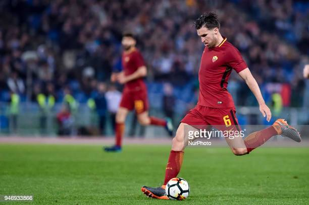 Kevin Strootman of Roma during the Serie A match between Lazio and Roma at Olympic Stadium Roma Italy on 15 April 2018