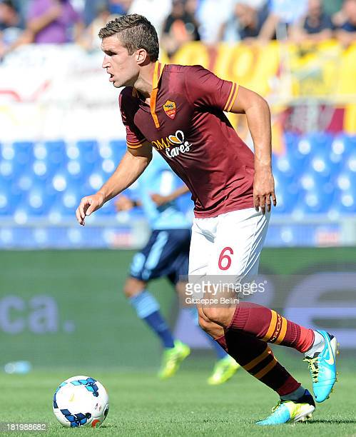 Kevin Strootman of Roma in action during the Serie A match between AS Roma and SS Lazio at Stadio Olimpico on September 22 2013 in Rome Italy