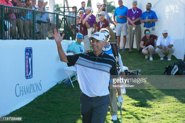 Kevin Sutherland celebrates his birdie on the18th green during the third and final round of the Chubb Classic held at The Classics at Lely Resort on...