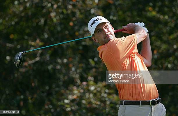 Kevin Sutherland hits his drive during the second round of the Travelers Championship held at TPC River Highlands on June 25 2010 in Cromwell...