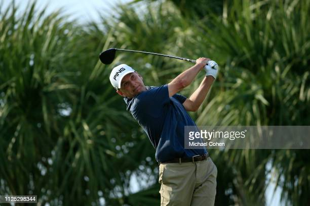 Kevin Sutherland hits his drive on the ninth hole during the second round of the Chubb Classic held at The Classics at Lely Resort on February 16...