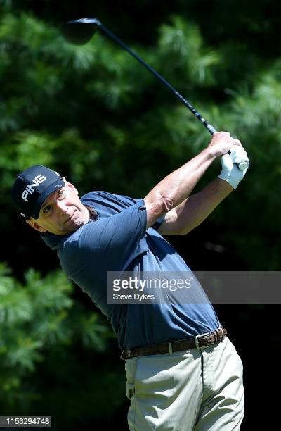Kevin Sutherland hits his drive on the sixth hole during the final round of the Principal Charity Classic at the Wakonda Club on June 02 2019 in Des...
