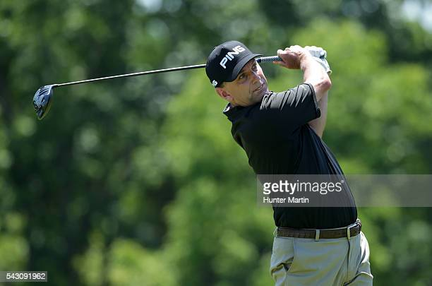 Kevin Sutherland hits his tee shot on the seventh hole during the second round of the Champions Tour American Family Insurance Championship at...