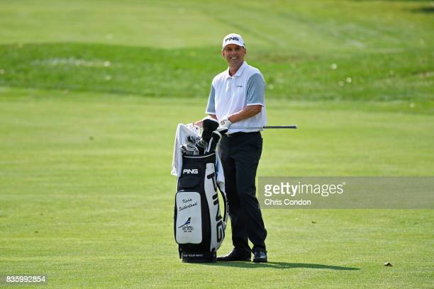 Kevin Sutherland holes out for eagle on the 9th hole during the final round of the PGA TOUR Champions DICK'S Sporting Goods Open at EnJoie Golf...