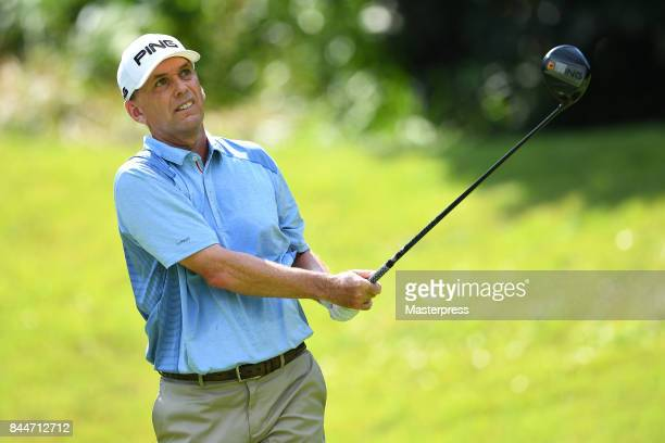 Kevin Sutherland of the United States looks on during the second round of the Japan Airlines Championship at Narita Golf ClubAccordia Golf on...