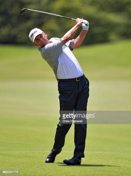 Kevin Sutherland of the United States plays a shot on the fifth hole during the third round of the Regions Tradition at Greystone Golf Country Club...