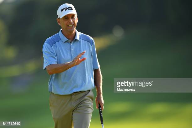 Kevin Sutherland of the United States reacts during the second round of the Japan Airlines Championship at Narita Golf ClubAccordia Golf on September...