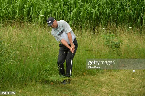Kevin Sutherland plays a shot from the weeds on the second green during the third round of the PGA TOUR Champions Constellation SENIOR PLAYERS...