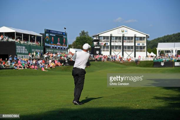Kevin Sutherland plays his second shot on the 18th hole during the final round of the PGA TOUR Champions DICK'S Sporting Goods Open at EnJoie Golf...