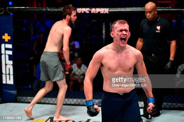 Kevin Syler of Bolivia reacts after defeating Lance Lawrence in their featherweight bout during Dana White's Contender Series at the UFC Apex on July...