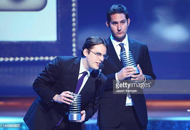 Kevin Systrom and Mike Kriegerof Instagram accept award at the 16th Annual Webby Awards on May 21 2012 in New York City