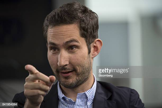 Kevin Systrom cofounder and chief executive officer of Instagram Inc speaks during a Bloomberg Studio 10 interview at the company's headquarters in...