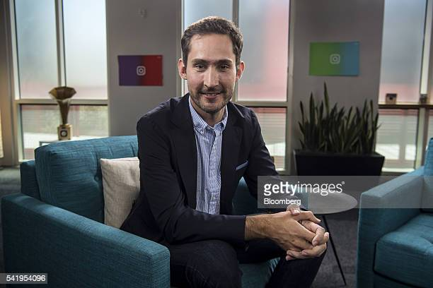 Kevin Systrom cofounder and chief executive officer of Instagram Inc sits for a photograph after a Bloomberg Studio 10 interview at the company's...