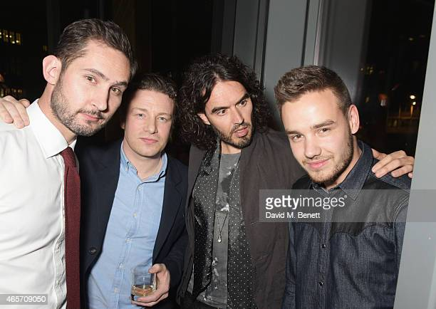 Kevin Systrom Jamie Oliver Russell Brand and Liam Payne attend a party hosted by Instagram's Kevin Systrom and Jamie Oliver This is their second...