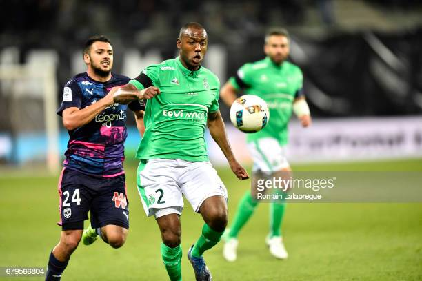 Kevin Theophile Catherine of Saint Etienne Gaetan Laborde of Bordeaux during the Ligue 1 match between As Saint Etienne and Girondins de Bordeaux at...