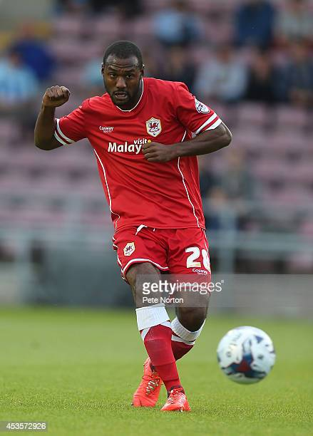 Kevin Theophile of Cardiff City in action during the Capital One Cup First Round match between Coventry City and Cardiff City at Sixfields Stadium on...