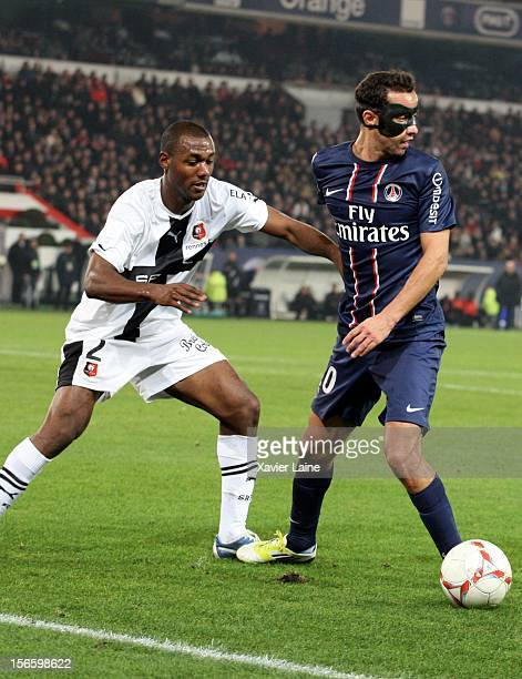 Kevin Theophile of Stade Rennais FC and Nene of Paris SaintGermain FC during the French Ligue 1 match between Paris SaintGermain FC and Stade Rennais...