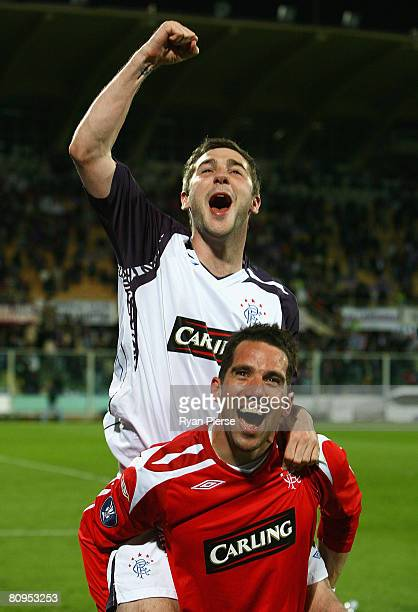 Kevin Thompson and Neil Alexander of Rangers celebrate after the UEFA Cup Semi Final second leg match at the Artemio Franchi Stadium on May 1, 2008...