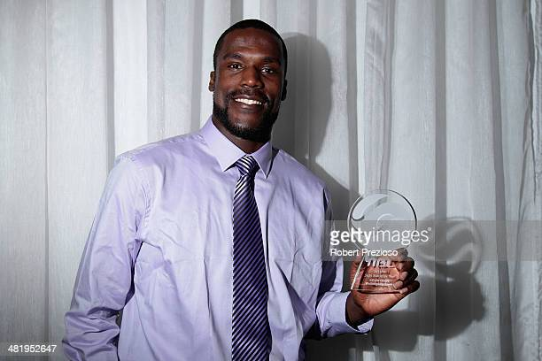 Kevin Tiggs of the Wollongong Hawks poses after being announced best sixth man during the NBL MVP Awards Night at Sketch at Docklands on April 2,...
