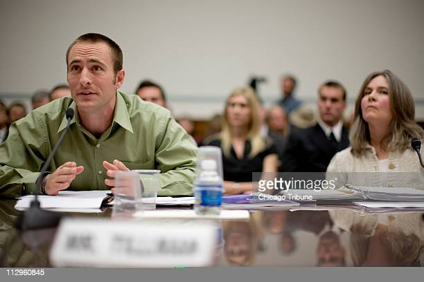 Kevin Tillman brother of Pat Tillman who was killed in Afghanistan by friendly fire and Mary Tillman their mother testify before a US House committee...