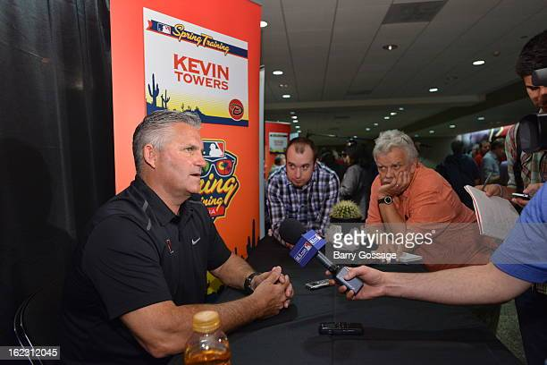 Kevin Towers Executive Vice President General Manager of the Arizona Diamondbacks talks to the media at the 2013 Media Day on February 18 2013 at...