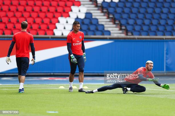 Kevin Trapp Alphonse Areola and Sebastien Cibois of PSG during the training session of Paris Saint Germain at Parc des Princes on May 16 2018 in...