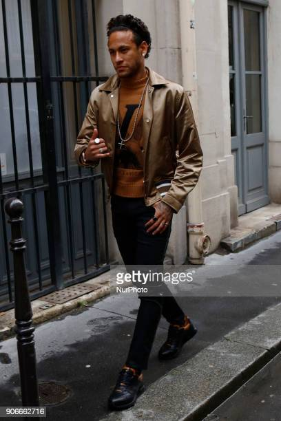 Kevin Trapp and Neymar seen arriving at the Vuitton Fashion Show in Paris France on January 18 2018
