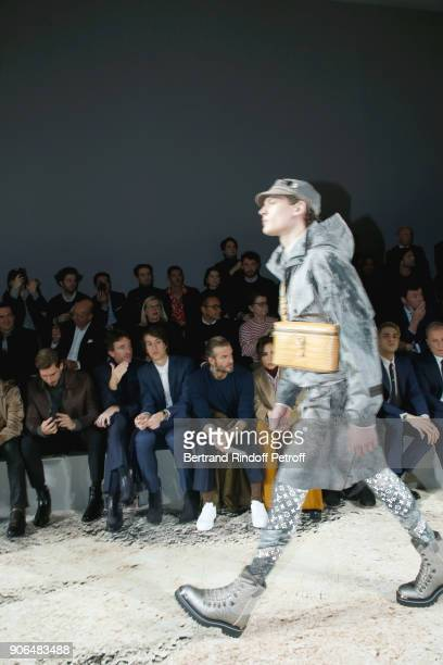 Kevin Trapp Antoine Arnault his brother Alexandre Arnault and David Beckham attend the Louis Vuitton Menswear Fall/Winter 20182019 show as part of...
