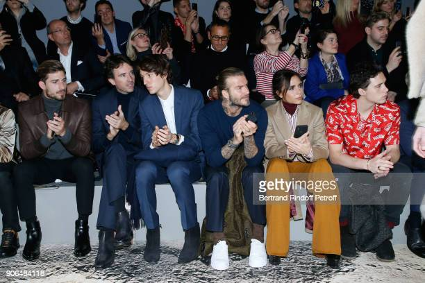 Kevin Trapp Antoine Arnault his brother Alexandre Arnault David Beckham Victoria Beckham and their son Brooklyn Beckham attend the Louis Vuitton...