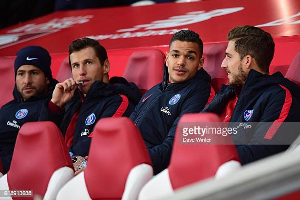 Kevin Trapp Hatem Ben Arfa Grzegorz Krychowiak and Sherrer Maxwell of PSG on the bench for the French Ligue 1 match between Lille and Paris Saint...