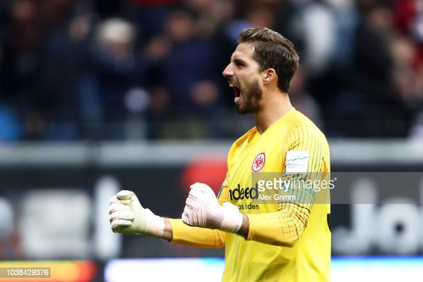 Kevin Trapp of Eintracht Frankfurt celebrates after Gelson Fernandes of Eintracht Frankfurt scores his team's first goal during the Bundesliga match...