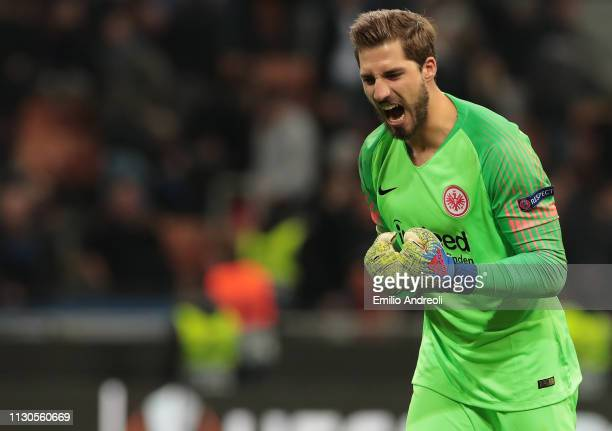 Kevin Trapp of Eintracht Frankfurt celebrates the victory at the end of the UEFA Europa League Round of 16 Second Leg match between FC Internazionale...