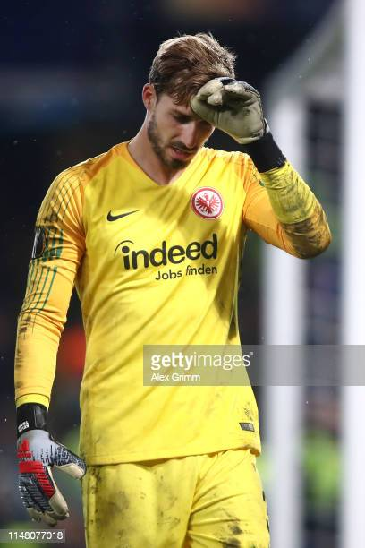 Kevin Trapp of Eintracht Frankfurt reacts after the UEFA Europa League Semi Final Second Leg match between Chelsea and Eintracht Frankfurt at...