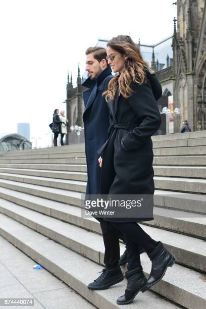 Kevin Trapp of Germany and his girlfriend Izabel Goulart in front of Cologne Cathedral on the morning after the international friendly match between...