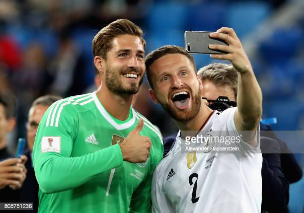 Kevin Trapp of Germany and Shkodran Mustafi of Germany take a selfie photograph after the FIFA Confederations Cup Russia 2017 Final between Chile and...