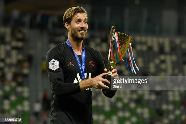 Kevin Trapp of Paris Saint Germain celebrate after winning the 2019 International Super Cup march between Sydney FC and Paris Saint Germain at Suzhou...