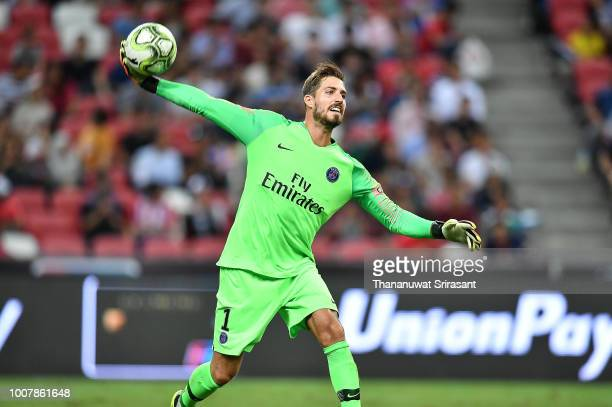 Kevin Trapp of Paris Saint Germain throws the ball during the International Champions Cup match between Paris Saint Germain and Clu b de Atletico...